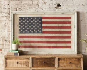 Details About Large American Flag Wall Decor Picture Wood Frame Gl Rustic Vintage Style
