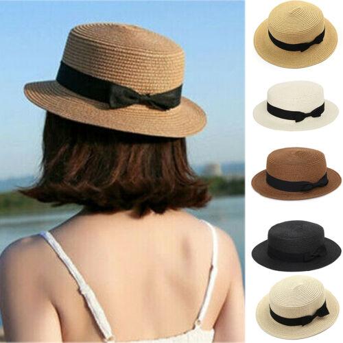 Womens Ladies Straw Boater Hat Summer Sun Visor Wide Brim Beach Hat Cap Holiday