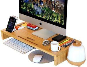 Large Bamboo Monitor Stand Riser Laptop Table Desktop Organizer