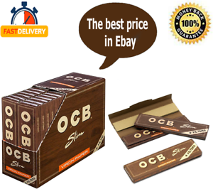 Tips Unbleached Rolling Papers  16 Booklets OCB Brown Virgin King Size Filter