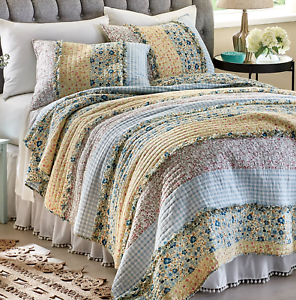 3p blueebell Ditzy Ruffle Queen Quilt Set floral gingham yellow Country farmhouse
