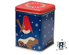 JOHN HANNA VINTAGE 50S STYLE CHRISTMAS ROBIN SQUARE METAL STORAGE CADDY TIN