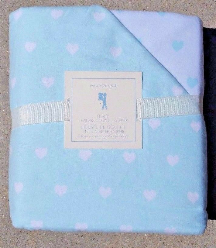 POTTERY BARN TEEN  HEART FLANNEL FULL   QUEEN DUVET IN LIGHT blu