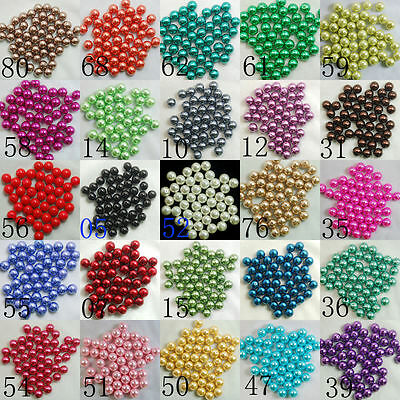 Color Acrylic No Hole Round Pearl Loose Beads Jewelry Making #12 NEW 5mm 100Pcs