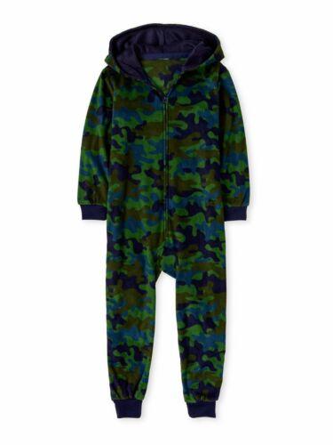 Camo Pajamas Boys One Piece Union Suit Blanket Sleeper Size 7-8 10 12 14 16 NEW