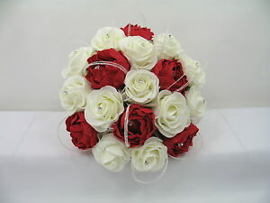 Bouquet Sposa Rosso.Wedding Flowers Ivory Rose Red Peony Posy Bouquet Bride