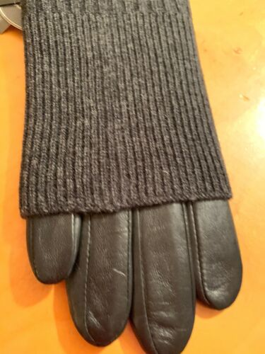 $125 Women Echo Black  Leather Gloves Small   Touch #262