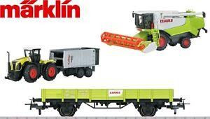 Marklin-H0-78652-2-Niederbordwagen-Set-avec-Machines-Agricoles-Im-Claas-Design
