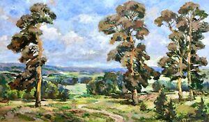 painting-Sheremet-art-impressionism-vintage-oak-landscape-old-original-picture