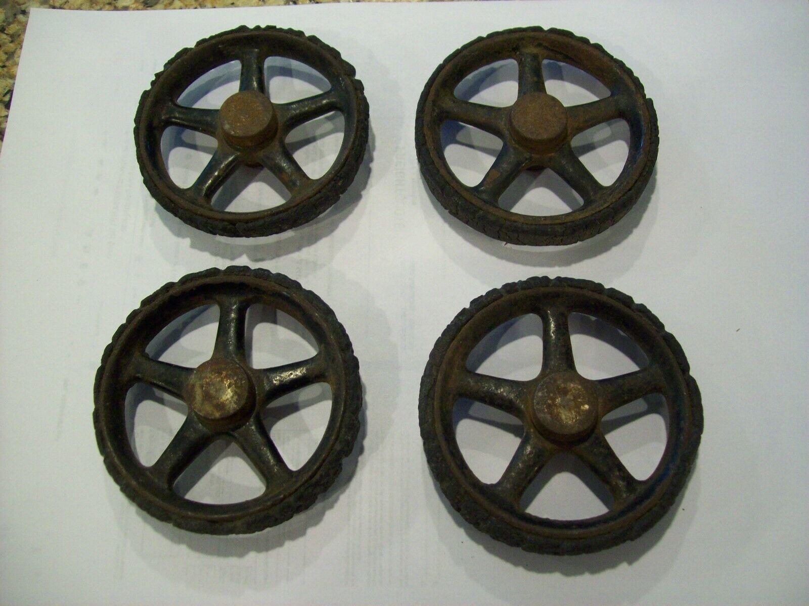 salida de fábrica Juguete Vintage 3  Ruedas De De De Hierro Pesado Juego De 4 neumáticos de goma dura con tapacubos  comprar marca