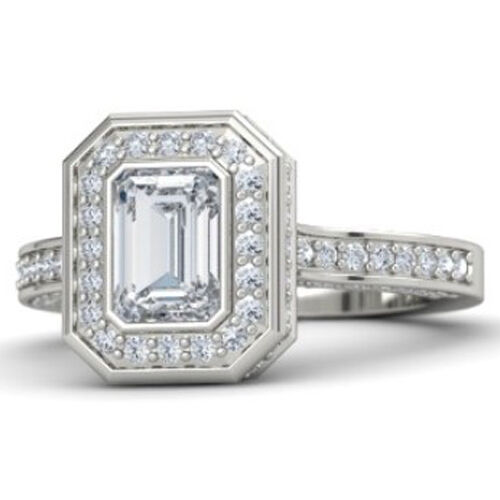 2.15 Ct Emerald Cut Halo Engagement Ring Classic Bezel Set In 14K white gold
