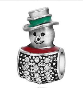 1Pcs-White-Crystal-Snowman-Ornaments-Charms-Silver-bead-Fit-Bracelet-Necklace