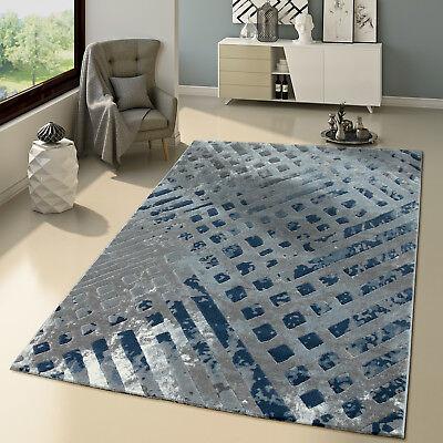 Tapis Salon Moderne Motif Shabby Chic Look Usé Gris Bleu Jean   eBay