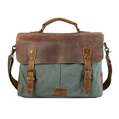 "Men's Leather Canvas Shoulder Bag Messenger Briefcase 14"" Laptop Case Satchel"
