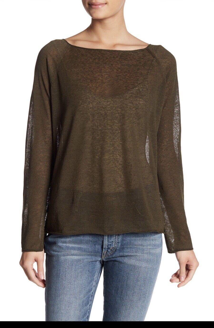 Theory Lalora Light Linen Blend Knit Tee Long Sleeve Top Juniper Größe  P