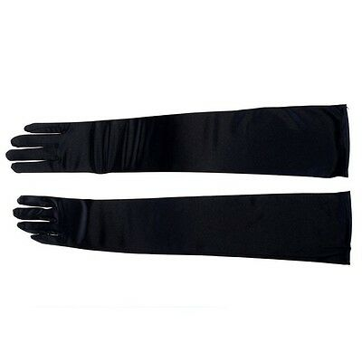 Bridal Prom Long Stretch Satin Wedding Evening Party Elbow-length Gloves