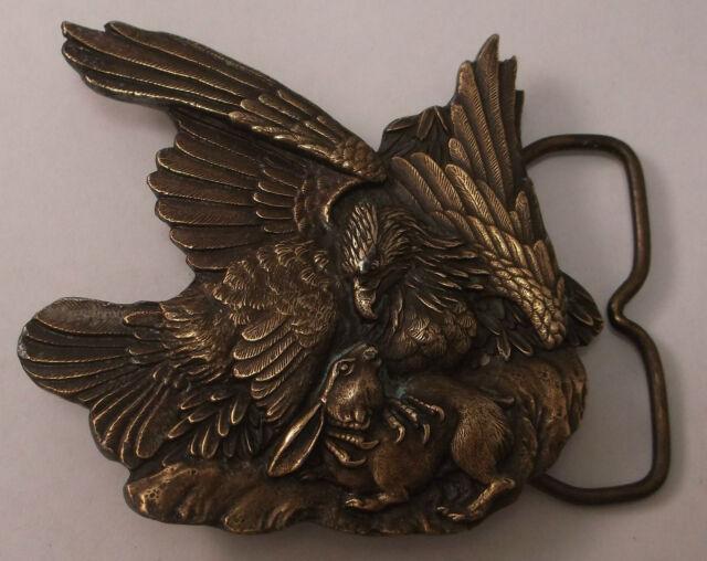 Eagle Bird of Prey Captures Rabbit Dinner 1974 Bergamot Vintage Belt Buckle al13