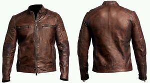 Mens-Cafe-Racer-Brown-Vintage-Quilted-Biker-Leather-Jacket-ALL-SIZES