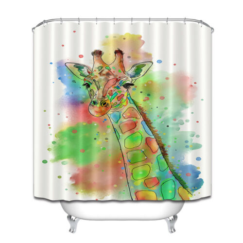 Fashion Watercolor Giraffe Splatter Color Extra Long Fabric Shower Curtain Liner