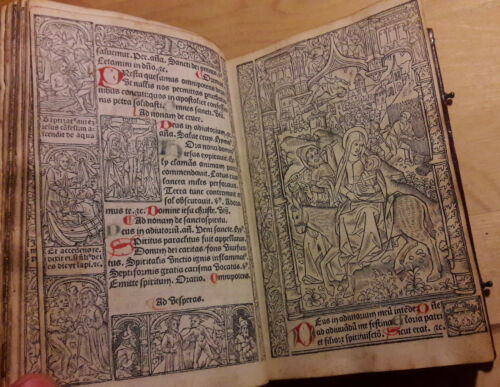 2-Livre-d-039-Heures-2-Book-of-Hours-Reliure-Maroquin-rouge-post-incunable