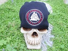 valknut rune circle 2 color embroiderd beanie hat thors hammer asatru norse