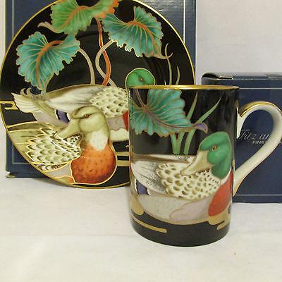 Vintage Fitz and Floyd Mallard Pond Mug and Salad Plate New In Box