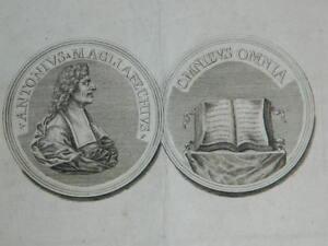 Gravur XVIII Numisbrief Münze Antonio Magliabechi (1633-1714)