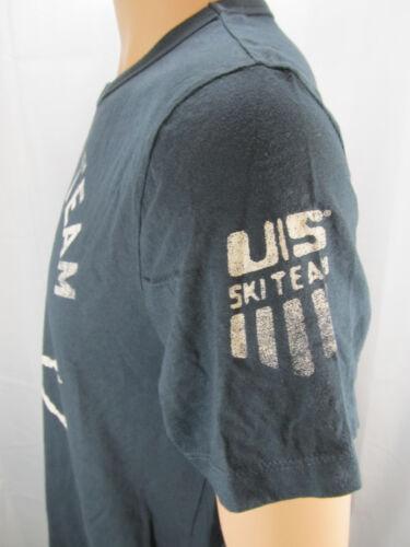 Mens Olympics US Ski Team Short Sleeve VINTAGE Skull Cotton Tee Shirt Dk Grn NEW