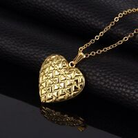 18K Gold Plated Heart Design Photo Locket Pendant Chain Necklace *UK*