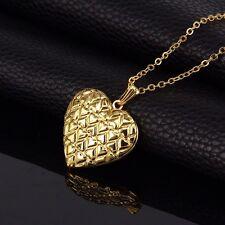 18K Gold Plated Heart Design Photo Locket Pendant Chain Necklace *UK*