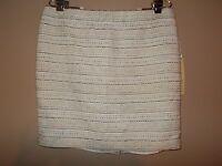 Kenar Womens Size 12 Straight Mini Skirt White Chambray Striped
