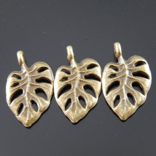 80pcs Antique Style Bronze Tone Alloy Leaf Shape Charm Pendant Decor Hot 03103