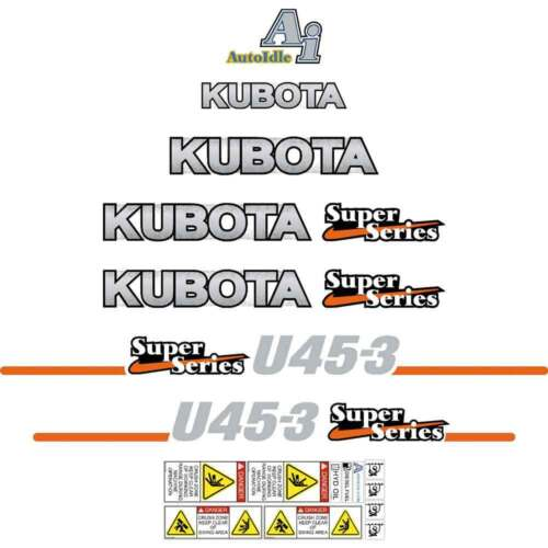 Kubota U453 Super Series Decals Sickers, Repro Decal Kit