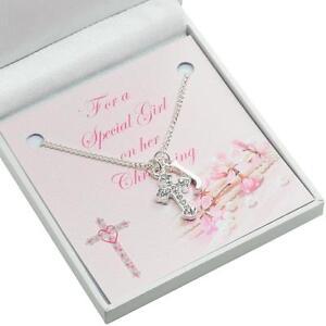 Details Zu Geschenk Für Mädchen Taufe Tag Kreuz Halskette Mit Initialen Für Patenkind Usw