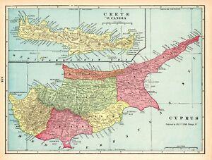 Details About 1902 Antique Cyprus And Crete Map Vintage Original Map Of Crete Greece 6206