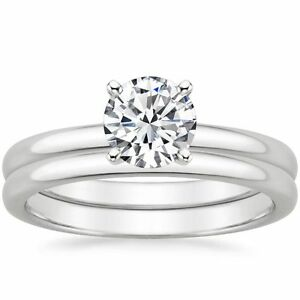 080 Tcw Plain Band Solitaire CZ Bridal Wedding Ring Set 18k Solid White Gold