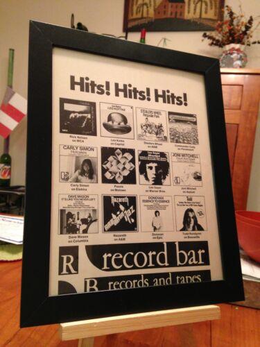 "set of 5 FRAMED ORIGINAL /""RECORD BAR/"" MALL MUSIC STORE MAGAZINE PROMO ADS"