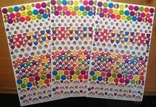 LISA FRANK 3 Large Sheets Smiley Face Heart Star Rainbow Flower Stickers!