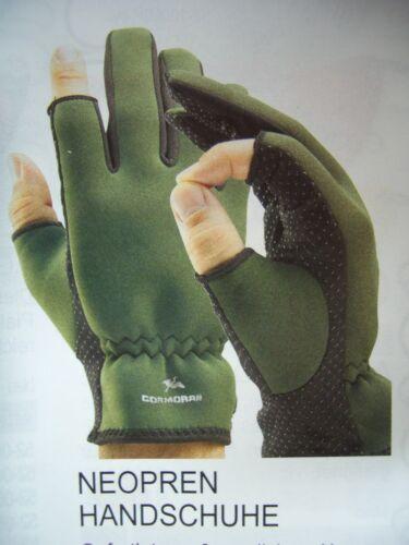 Größe M Cormoran Neopren Handschuhe grün schwarz