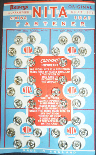 24 7mm NITA RUSTLESS SPRING SNAP FASTENER //Press studs on Vintage Display Card