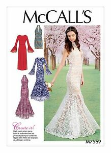 M7569 Sewing Pattern Women Special Occasion Prom Mermaid Dress Size