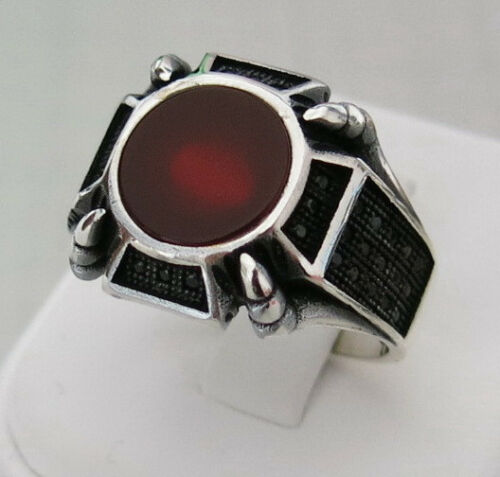 Handmade Red Agate /& Marcasite Stone 925 Sterling Silver Men/'s Ring E57
