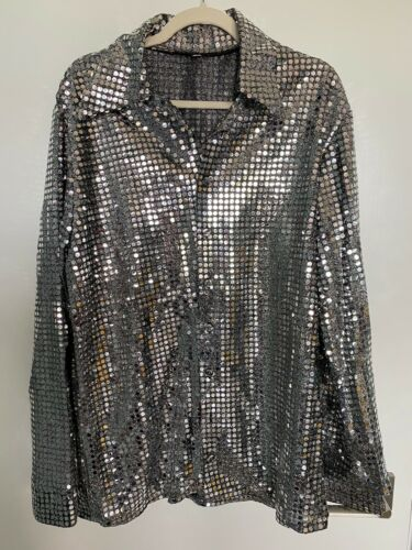 Vintage 70s Disco Shirt Glam Club Wear Metallic Si