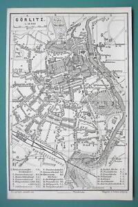 1884 MAP Baedeker - GERMANY Gorlitz City Plan