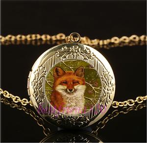 Cunning Fox Photo cabochon verre placage Or Médaillon Collier Pendentif