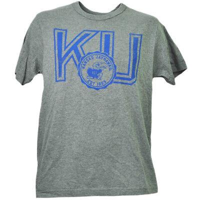 2019 Neuestes Design Ncaa Kansas Jayhawks Ku Distressed Herren T-shirt Kurzarm Rundhals Sport QualitäTswaren Weitere Ballsportarten Sport