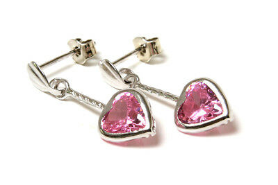 9ct White Gold Pink CZ Flower Studs Earrings Gift Boxed Made in UK Birthday Gift