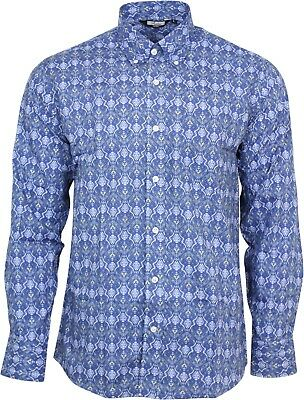 Relco Mens Blue Red Paisley Long Sleeve Shirt Button Down Collar Mod Vintage 60s