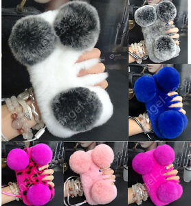 online store 60d95 71329 Details about 3D Cute Panda Bear Warm Fluffy Furry Plush Ball Rabbit Fur  Back Phone Case Cover