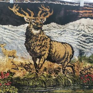 """Stag Wall Tapestry Deer Doe Buck Cabin Decor Man Cave Hunting Vintage 37""""x19"""""""